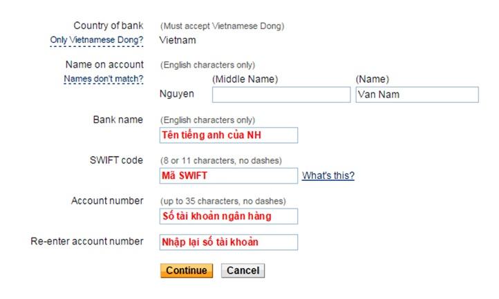 Mã Ngân hàng ( bank code ) khi chuyển tiền online