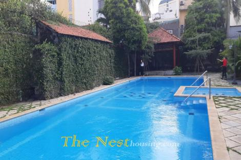 House in compound for rent, 3 bedrooms, common swimming pool, Dist 2
