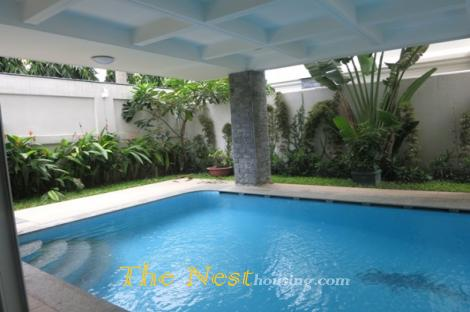 Villa for rent in District 2, 4 bedrooms, good location, 3500 USD