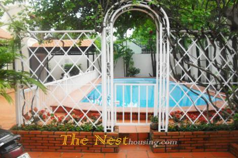 Charming villa for rent in Thao Dien, swimming pool and garden, 4 bedroom, partly furnished