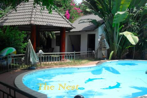 Charming villa for rent in compound, 4 bedrooms, private swimming pool, nice garden