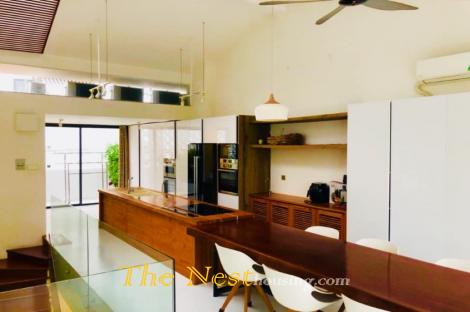 Modern townhouse for rent in District 2, 3 bedrooms plus 1 office room, 1800 USD